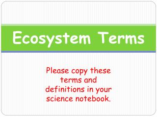 Ecosystem Terms