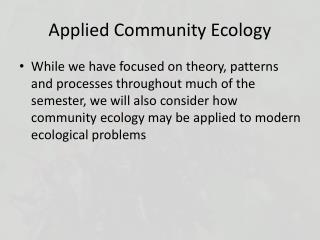 Applied Community Ecology