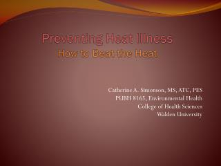 Preventing Heat Illness How to Beat the Heat