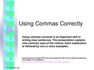 Using Commas Correctly