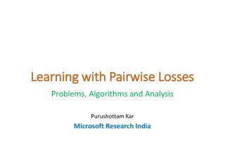 Learning with Pairwise Losses