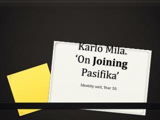 Karlo Mila. 'On Joining Pasifika '