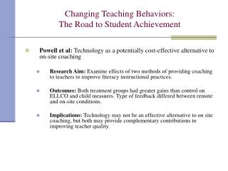 Changing Teaching Behaviors: The Road to Student Achievement