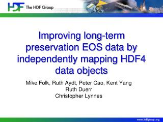 Improving long-term preservation EOS data by independently mapping HDF4 data objects
