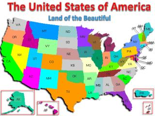 The United States of America Land of the Beautiful