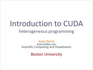 Introduction to CUDA heterogeneous programming