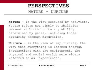 PERSPECTIVES NATURE - NURTURE