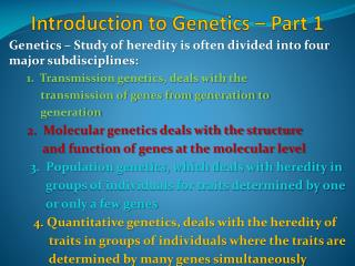 Introduction to Genetics – Part 1