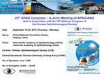 25th APAO Congress   A Joint Meeting of APAO