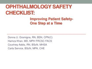Ophthalmology Safety Checklist :