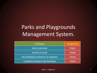 Parks and Playgrounds Management System.