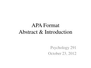APA Format Abstract & Introduction