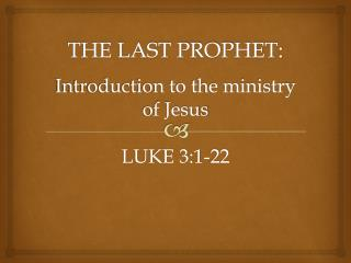 Introduction to the ministry of Jesus