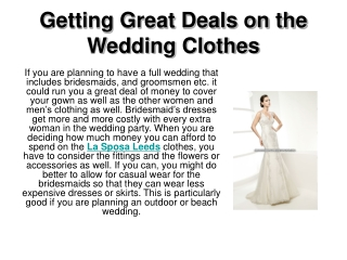 Getting Great Deals on the Wedding Clothes