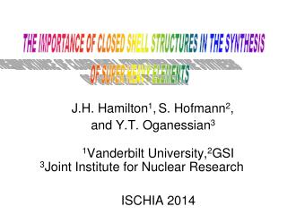 J.H . Hamilton 1 , S. Hofmann 2 , and Y.T . Oganessian 3