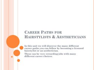 Career Paths for Hairstylists & Aestheticians