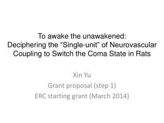 Xin Yu Grant proposal (step 1) ERC starting grant (March 2014)
