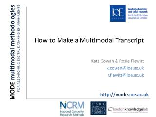 MODE  multimodal methodologies FOR RESEARCHING DIGITAL DATA AND ENVIRONMENTS