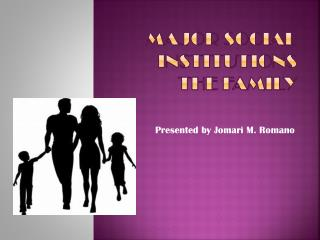 Major Social Institutions The Family