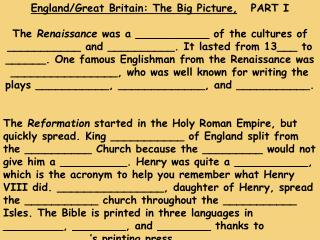 England/Great Britain: The Big Picture, PART I