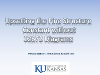 Upsetting the Fine Structure  Constant without  12672 Diagrams