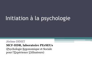 Initiation à la psychologie