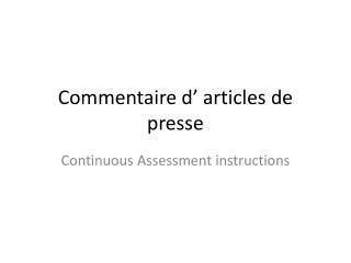 Commentaire d' articles de presse