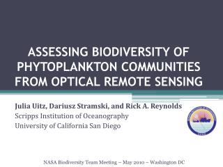 ASSESSING BIODIVERSITY OF PHYTOPLANKTON COMMUNITIES FROM OPTICAL REMOTE SENSING