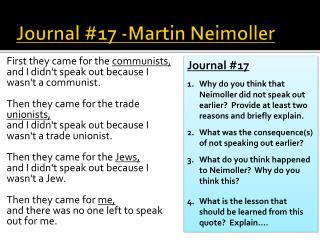 Journal #17 -Martin  Neimoller