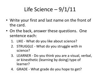 Life Science – 9/1/11