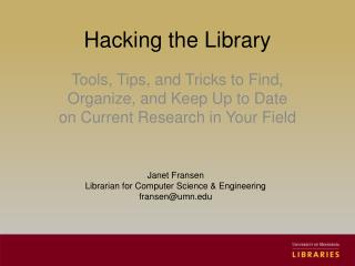 Hacking the Library