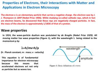 Properties of Electrons, their Interactions with  Matter and  Applications in Electron Microscopy