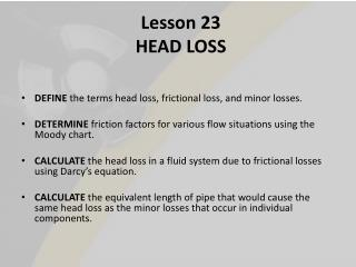 Lesson 23 HEAD LOSS