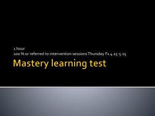 Mastery learning test