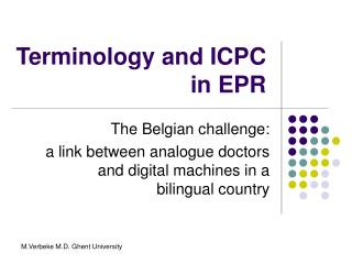 Terminology and ICPC in EPR