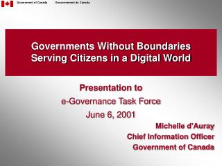 Governments Without Boundaries Serving Citizens in a Digital World