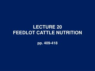 LECTURE 20 FEEDLOT CATTLE NUTRITION