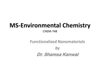 MS-Environmental Chemistry CHEM-748
