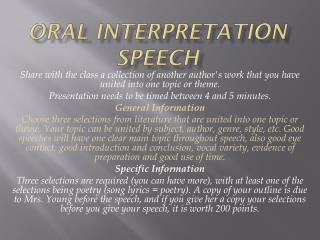 Oral Interpretation Speech