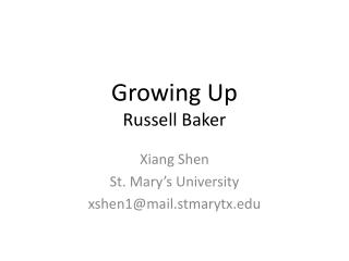 Growing Up Russell Baker