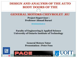 DESIGN AND ANALYSIS OF THE AUTO BODY DOORS OF THE  GENERAL MOTORS CHEVROLET .RU