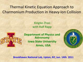 Thermal Kinetic Equation Approach to  Charmonium  Production in Heavy-Ion Collision