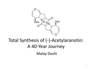 Total Synthesis of (-)- Acetylaranotin : A 40-Year Journey