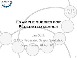 Example queries for Federated search