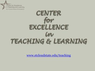 CENTER  for EXCELLENCE  in  TEACHING & LEARNING