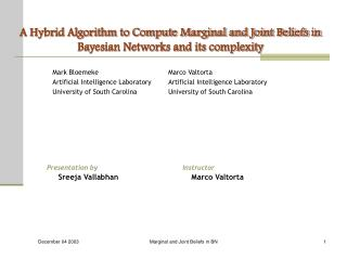 A Hybrid Algorithm to Compute Marginal and Joint Beliefs in Bayesian Networks and its complexity