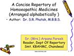 A Concise Repertory of Homoeopathic Medicines Arranged ...