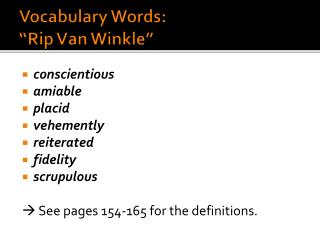 "Vocabulary Words:  ""Rip Van Winkle"""