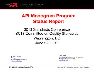 2013 Standards Conference SC18 Committee on Quality Standards Washington, DC June 27, 2013