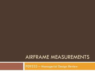 Airframe Measurements
